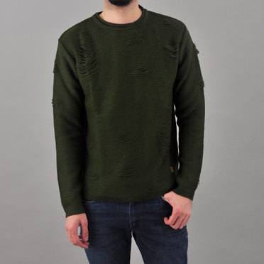 SWEATER HW TRASHED MILITARY