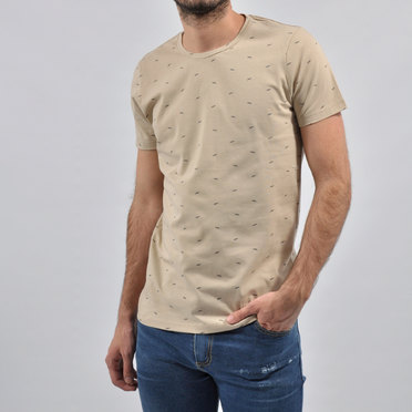 REMERA FEATHERS BEIGE