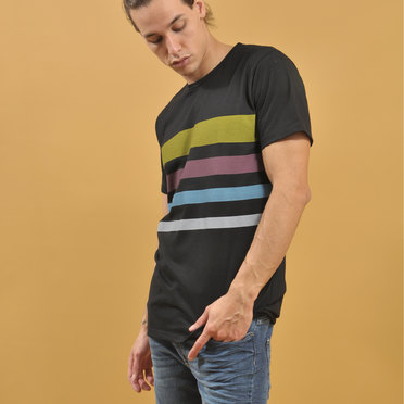 REMERA ATLANTA STRIPES BLACK