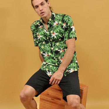 CAMISA M/C TROPICAL BLACK