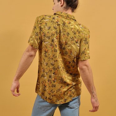 CAMISA M/C LEAVES PALMER BROWN