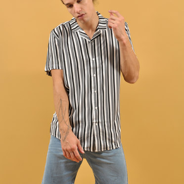 CAMISA M/C LONDON STRIPE BLACK